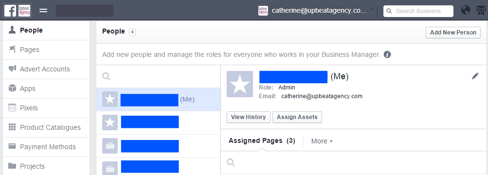 Grant people access to your accounts in Facebook Business Manager