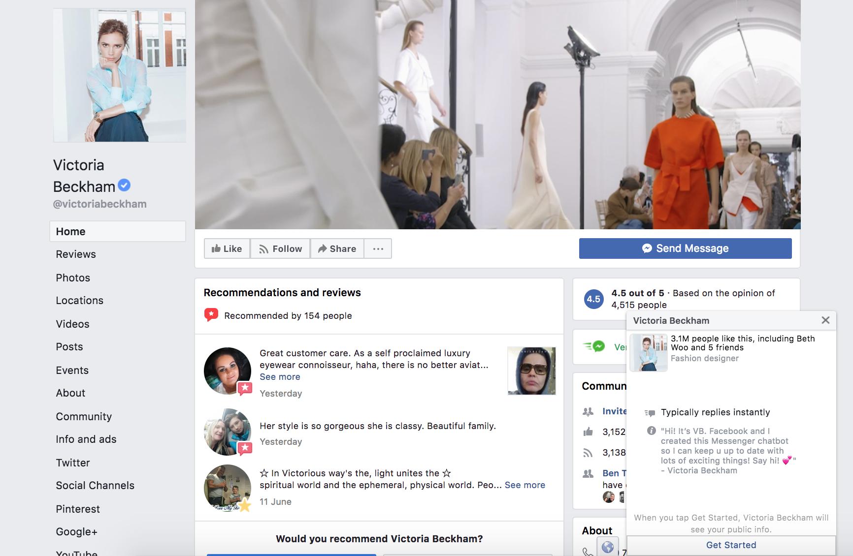 Victoria Beckham Facebook messenger bot