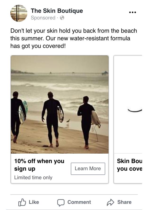 A Facebook ad carousel