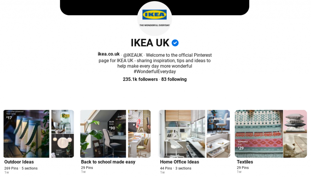 Example of product boards from IKEA